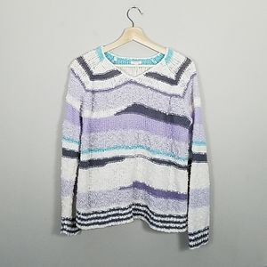 Purple and teal knit sweater